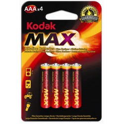 4x Piles Kodak Max Alkaline AAA
