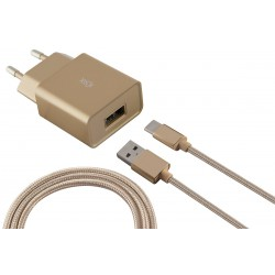 Chargeur secteur Ksix Micro USB / Gold