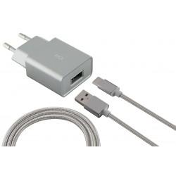 Chargeur secteur Ksix Micro USB / Silver