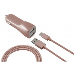 Chargeur Voiture Allume-cigare Ksix 2 USB / Rose Gold