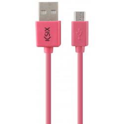 Câble Ksix USB vers Micro USB 1M / Rose