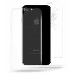 Etui en Silicone Puro + Protection Écran Verre Trempé pour iPhone 7