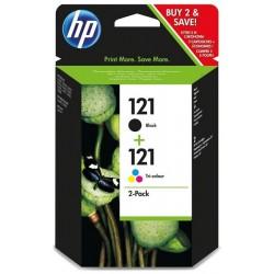 Lot de 2 cartouches d'encre authentiques noire/trois couleurs HP 121
