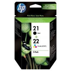 Lot de 2 cartouches d'encre authentiques HP 21 Noir / HP 22 trois couleurs