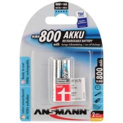 2x Piles Rechargeables Ansmann NiMH Micro AAA 800mAh