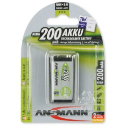 Pile Rechargeable Ansmann NiMH 9V-Block E 200mAh