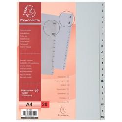 Intercalaires Imprimés Alphabétiques AZ Exacompta 20 positions A4