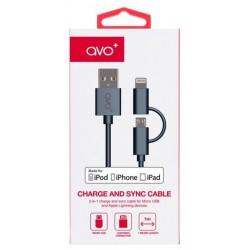 Câble Avo+ 2 en 1 USB vers Micro-USB/Lightning / Noir