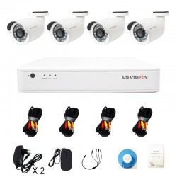 KitLS Vision DVR AHD 4 canaux + 4 Caméras 1MP Tube