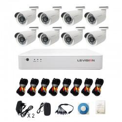 KitLS Vision DVR AHD 8 canaux + 8 Caméras 1MP Tube