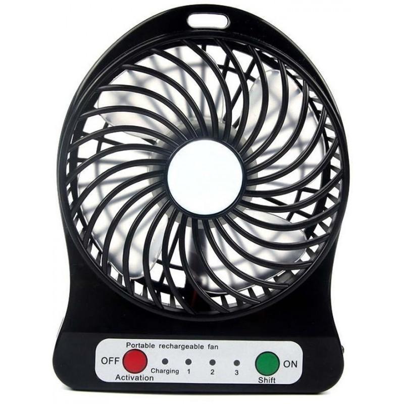 ventilateur sans fil rechargeable portable noir. Black Bedroom Furniture Sets. Home Design Ideas