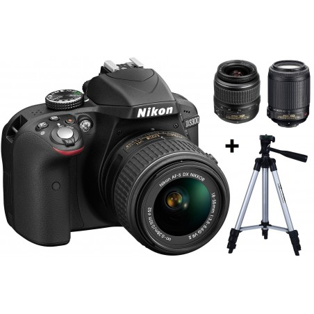 Réflex Numérique Nikon D3300 + Objectif Nikkor 18-55mm + Objectif Nikkor 55-200mm + Trépied