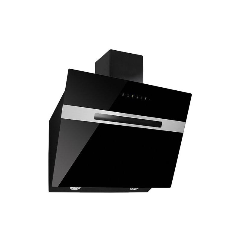 c21e382a632eb Hotte décorative 60 cm - Panneau de contrôle Tactile - Verre noir trempé - Double  moteur - Filtre en aluminium lavable - 3 Vitesses- Capacité d aspiration   ...