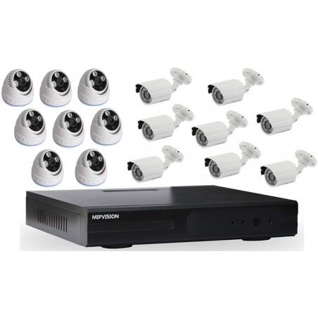 Kit DVR AHD 16 canaux + 8 Caméras Dôme + 8 Caméras Externes 1MP