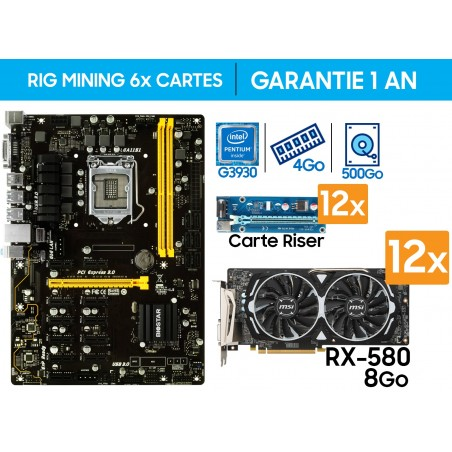 RIG MINING 12x Cartes Graphiques RX-580 8G / 370 MH/s (ETH)