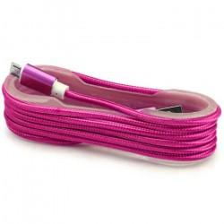 Câble Tissu en nylon Tressé USB vers Micro USB / Rose