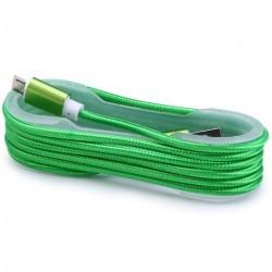 Câble Tissu en nylon Tressé USB vers Micro USB / Vert