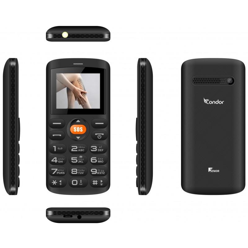 Téléphone Portable Condor F Senior Double Sim Noir Sim Offerte