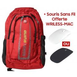 """Sac à dos pour Pc Portable 15.6"""" / Rouge + Souris Sans Fil Offerte"""