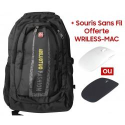 """Sac à dos pour Pc Portable 15.6"""" / Noir + Souris Sans Fil Offerte"""