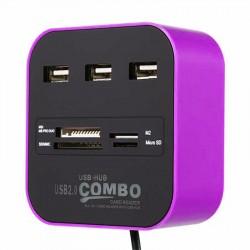 Hub 3 ports USB 2.0 + Lecteur de cartes / Violet