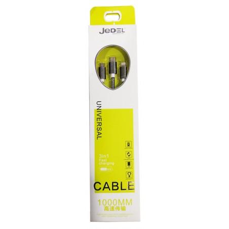 Câble JeDel 3en1 USB vers Micro USB / Type C / Lightning