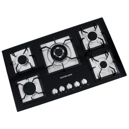 plaque de cuisson en verre g n ral gold 5 feux noir. Black Bedroom Furniture Sets. Home Design Ideas