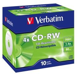 Bobine 10x CD-RW 4x Verbatim Réinscriptible