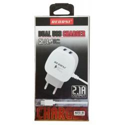 Chargeur Secteur RECRSI CH-14 2 USB / 2.1A / Blanc