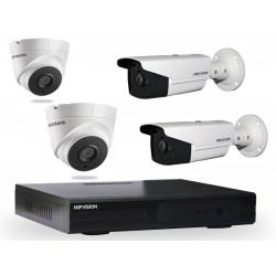 Kit DVR AHD 4 canaux + 2 Caméras Hikvision Externes + 2 Caméras Hikvision  Internes 1MP