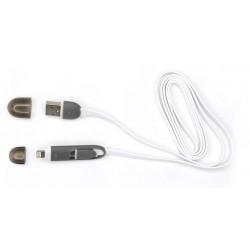 Câble SBOX 2en1 USB Vers Micro USB et Lightning / 1M / Blanc