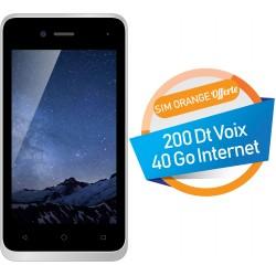 Téléphone Portable Evertek V5 Nano / 3G / Double SIM / Blanc + SIM Orange Offerte (40 Go)