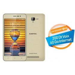 Téléphone Portable Evertek V4 / 3G / Double SIM / Gold + SIM Orange Offerte (40 Go)