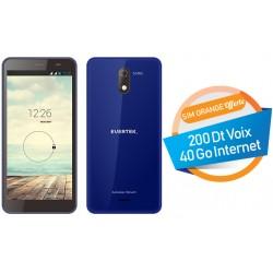 Téléphone Portable Evertek V5 / 3G / Double SIM / Bleu + SIM Orange Offerte (40 Go)