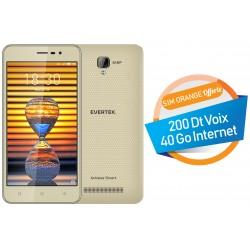 Téléphone Portable Evertek V4 Plus / 4G / Double SIM / Gold + SIM Orange Offerte (40 Go)