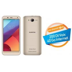 Téléphone Portable Evertek V5 Plus / 4G / Double SIM / Gold + SIM Orange Offerte (40 Go)