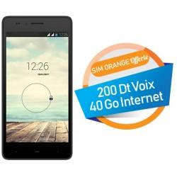 Téléphone Portable Evertek P1 / 3G / Double SIM / Noir + SIM Orange Offerte (40 Go)