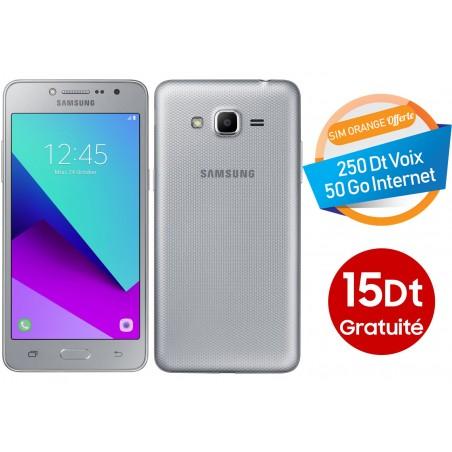 Téléphone Portable Samsung Galaxy Grand Prime Plus / Double SIM / Silver + 15 Dt Gratuité + SIM Orange Offerte (50 Go)