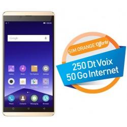 Téléphone Portable Condor Plume P8 Lite  / 4G / Double SIM / Gold + Film + Coque + Support + SIM Orange Offerte (50 Go)
