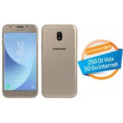 Téléphone Portable Samsung Galaxy J3 Pro / 4G / Double SIM / Gold + SIM Orange Offerte (50 Go)