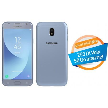 Téléphone Portable Samsung Galaxy J3 Pro / 4G / Double SIM / Bleu Silver + SIM Orange Offerte (50 Go)