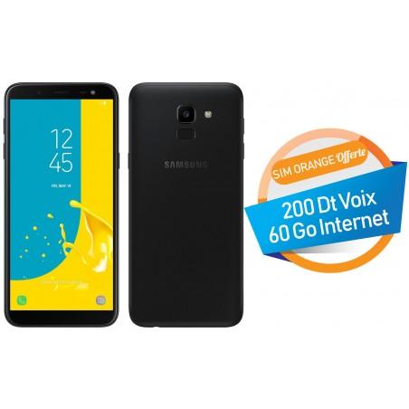 Téléphone Portable Samsung Galaxy J6 / 4G / Double SIM / Noir + SIM Orange Offerte (60 Go)