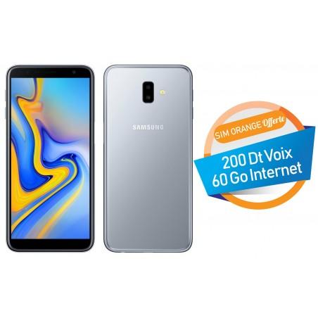 Téléphone Portable Samsung Galaxy J6+ / 4G / Double SIM / Gris + SIM Orange Offerte (60 Go)