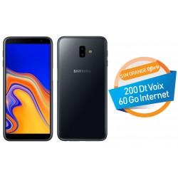 Téléphone Portable Samsung Galaxy J6+ / 4G / Double SIM / Noir + SIM Orange Offerte (60 Go)