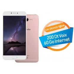 Téléphone Portable Condor Allure A8 Plus / 4G / Double SIM / Rose + SIM Orange Offerte (60 Go)