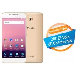 Téléphone Portable Condor Allure M1 / 4G / Double SIM / Gold + SIM Orange Offerte (60 Go)