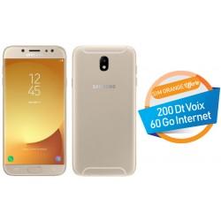 Téléphone Portable Samsung Galaxy J5 Pro / 4G / Double SIM / Gold + SIM Orange Offerte (60 Go)