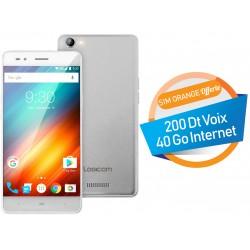 Téléphone Portable Logicom Power Bot / 4G / Double SIM / Gris + SIM Offerte (40 Go)