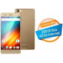 Téléphone Portable Logicom Power Bot / 4G / Double SIM / Gold + SIM Offerte (40 Go)