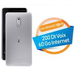 Téléphone Portable Nokia 6 / Double SIM / Silver + SIM Orange Offerte (60 Go)